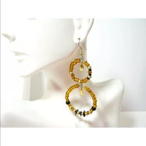Gold Glass beaded Hoops with Gemstone Accents